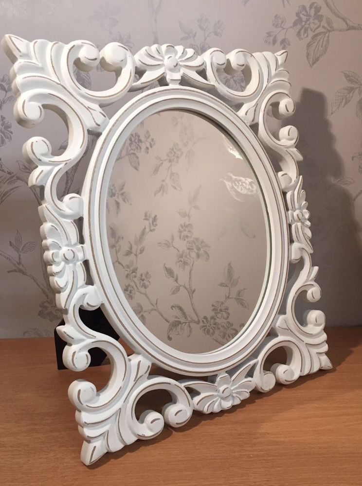 French Chic White Distressed Freestanding Mirror
